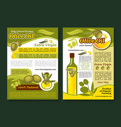 Olive oil poster template for healthy food design vector