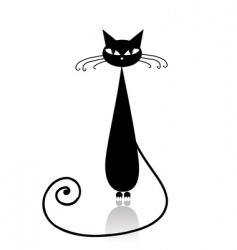 Black cat silhouette vector