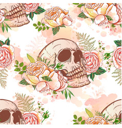 Roses and skulls vector