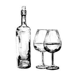 Bottle of wine and two glasses vector