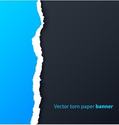 Blue torn paper with drop shadows on dark vector
