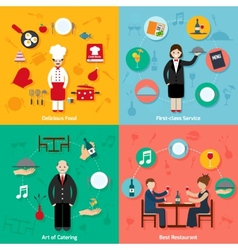 Restaurant flat set vector