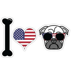 I love pugs with american symbols vector