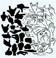 Set of many hand in a different phases vector