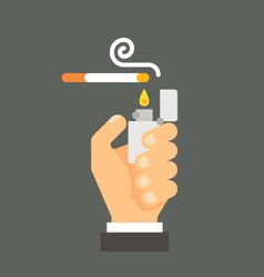 Flat design hand holding lighter and cigarette vector