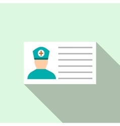 Medical id icon flat style vector