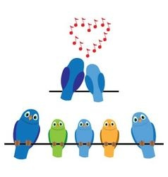 Birds adults and children vector