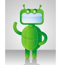Crazy funny green robot vector image