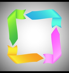Colorful ribbon arrow round rectangle vector