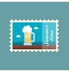 Beer mug stamp summer vacation vector