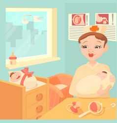 Baby born concept cartoon style vector