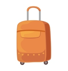 Brown suitcase on wheels with telescopic handle vector