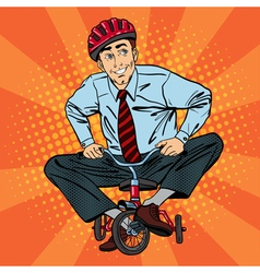 Businessman on children bicycle fun at work vector