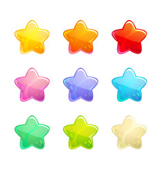Cartoon glossy colorful stars set vector