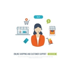 Concepts for customer support online shopping vector