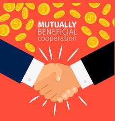 cooperation concept businessmen handshaking vector image