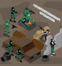 counterterrorist operation isometric composition vector image