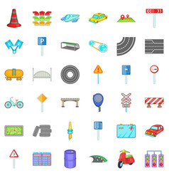Crossroad icons set cartoon style vector