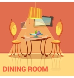 Dining room retro design vector