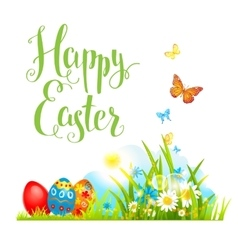 Easter grass and flowers vector image