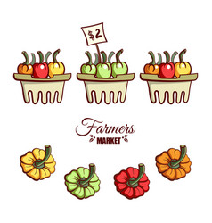 farmers market bell peppers vector image vector image