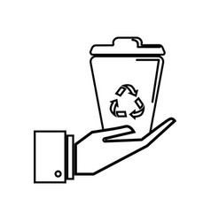 Figure recycle can in the hand icon vector