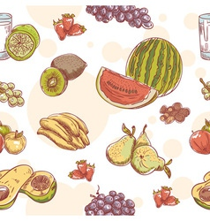 Fresh fruit hand drawn seamless pattern vector image