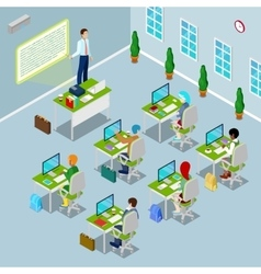 Isometric Computer Classroom with Teacher vector image vector image