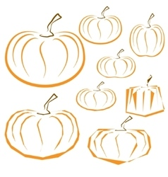 Outline pumpkins set on white background vector