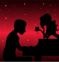 Piano player with woman vector