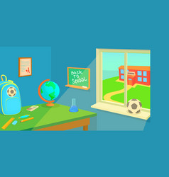 School room horizontal banner cartoon style vector