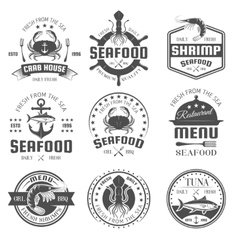 Seafood Black White Restaurant Emblems vector image