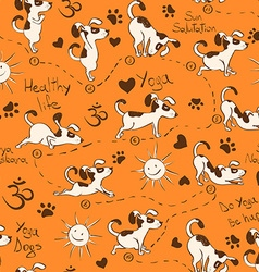 Seamless pattern with dog doing yoga position of vector