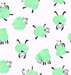 Seamless pattern with green sheep vector