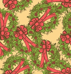 Sketch christmas seamless pattern in vintage style vector