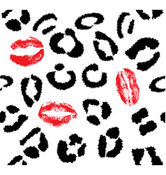 Snow leopard red lips vector