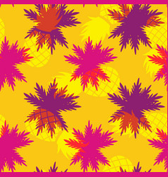 tropical summer pineapple palm leaf pattern vector image vector image