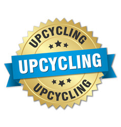 upcycling round isolated gold badge vector image vector image