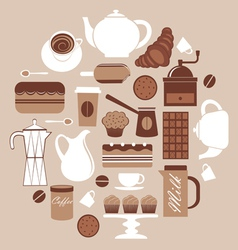 Round coffeecomposition vector image