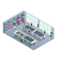 Clothes factory isometric composition vector