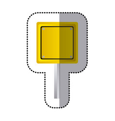 Sticker yellow square shape traffic sign with base vector