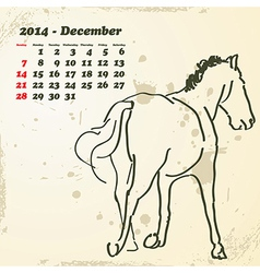 December 2014 hand drawn horse calendar vector