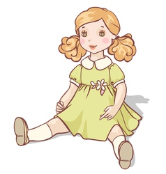 Cartoon doll sits in a green dress vector