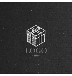 With isometric gift box on cardboard texture logo vector