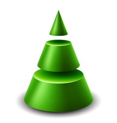 3d cone Christmas tree vector image vector image