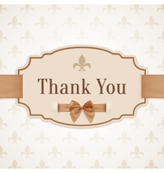 Thank you banner with golden ribbon and a bow vector