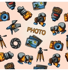 Seamless photography handdrawn pattern with - vector