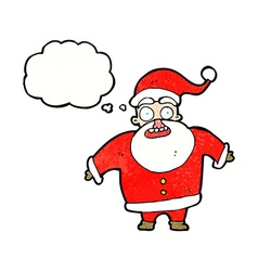 Cartoon shocked santa claus with thought bubble vector