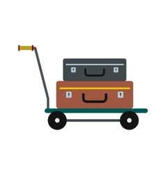 Suitcases on a cart icon vector