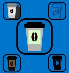 Disposable coffee cup icons set vector